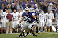 MANHATTAN, KS - SEPTEMBER 15:  Lineback Ian Campbell #98 of the Kansas State Wildcats drops back into coverage against the Missouri State Bears in the first quarter, during a NCAA football game on September 15, 2007 at Bill Snyder Family Stadium in Manhattan, Kansas.  (Photo by Peter Aiken/Getty Images)