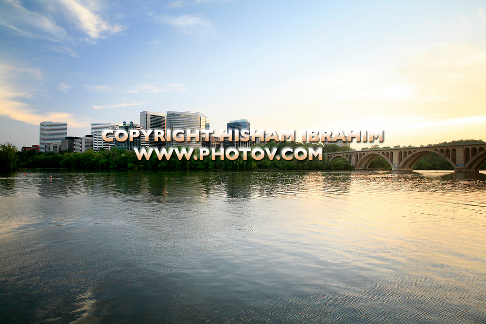 The Skyline of Rosslyn in Arlington County, Key Bridge and the Potomac River at Sunset, Virginia, USA