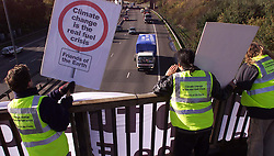 Day 3 of fuel protest from Newcastle, trucks have been driving in a convoy, protests involve police, friends of the earth campaigners and other people to do with logistics and transport, November 12, 2000..Photo by Andrew Parsons/i-Images..