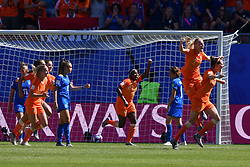 June 30, 2019 - Valenciennes, France - Lieke Martens, Merel Van Dongen, Sherida Spitse, Desiree Van Lunteren, Dominique Bloodworth, Stefanie Van Der Gragt of Netherlands Women's National Football team celebrate the second goal during the quarter-final between in ITALY and NETHERLANDS the 2019 women's football World cup at Stade du Hainaut, on the 29 June 2019. (Credit Image: © Julien Mattia/NurPhoto via ZUMA Press)