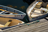 Dinghys at dock, Port Clyde, Maine.