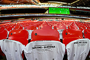 T-shirts on seats  before the FIFA World Cup Qualifier match between England and Slovenia at Wembley Stadium, London, England on 5 October 2017. Photo by Martin Cole.