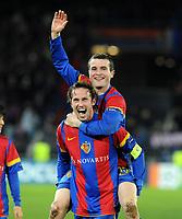 Basel, Fussball, UEFA Champions League, FC Basel - Manchester United. 7. Dezember. 2011. Marco Streller und Alex Frei (Basel). (Daniel Teuscher/EQ Images)