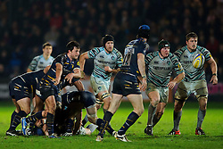 Worcester Scrum-Half (#9) Jonny Arr passes from the breakdown during the second half of the match - Photo mandatory by-line: Rogan Thomson/JMP - Tel: Mobile: 07966 386802 04/01/2012 - SPORT - RUGBY - Sixways - Worcester. Worcester Warriors v Leicester Tigers - Aviva Premiership.