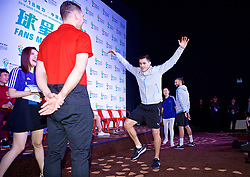 NANNING, CHINA - Saturday, March 24, 2018: Uruguay's Lucas Torreira plays Chinese whispers charades and describes a mascot during a meet & greet event at the Nanning Wanda Mall during the 2018 Gree China Cup International Football Championship. (Pic by David Rawcliffe/Propaganda)
