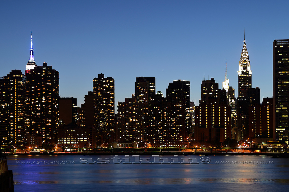 East side in twilight. View from Long Island City.
