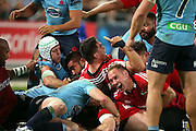 Andy Ellis celebrates. NSW Waratahs v Canterbury Crusaders. Sport Rugby Union Super Rugby Representative Provincial. ANZ Stadium. 23 May 2015. Photo by Paul Seiser/SPA Images