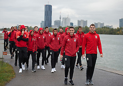 VIENNA, AUSTRIA - Thursday, October 6, 2016: Wales' James Chest and Sam Volkes lead the squad during a pre-match walk at the Hilton Danube Waterfront Hotel ahead of the 2018 FIFA World Cup Qualifying Group D match against Austria. (Pic by Peter Powell/Propaganda)