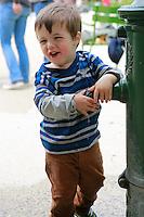 joe at water fountain,  Tuillerie gardens, Paris