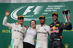 Formel 1: Grosser Preis der USA in Austin, Renntag / 231016<br /> <br /> ***1st place Lewis Hamilton (GBR) Mercedes AMG F1 W07, 2nd place Nico Rosberg (GER) Mercedes AMG Petronas F1 W07 and 3rd place Daniel Ricciardo (AUS) Red Bull Racing RB12.<br /> 23.10.2016. Formula 1 World Championship, Rd 18, United States Grand Prix, Austin, Texas, USA, Race Day.<br /> ***