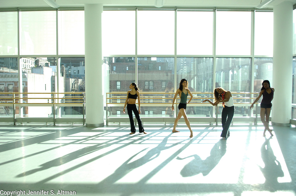 Alvin Ailey dancers from left: Linda Celeste Sims, Alicia Graf, Renee Robinson and Briana Reed are seen in a studio rehearsal room at the Joan Weill Center for Dance in Manhattan, NY.  1/25/2008 Photo by Jennifer S. Altman/For The Times