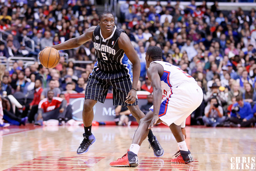 06 January 2014: Orlando Magic shooting guard Victor Oladipo (5) looks to pass the ball during the Los Angeles Clippers 101-81 victory over the Orlando Magic at the Staples Center, Los Angeles, California, USA.
