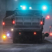 Salt trucks plowing E. Main St. during a storm Friday, Jan, 22, 2016 in Newark.<br /> <br /> A massive blizzard dumps snow in Newark, and eastern United States on Friday, with mass flight cancellations, five states declaring states of emergency.