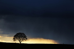 © Under licence to London News Pictures. 26/04/2016. Storm clouds darken the late afternoon sky near Barton in rural North Yorkshire as the unseasonably cold weather looks set to continue. Photo Credit: Stuart Boulton/LNP