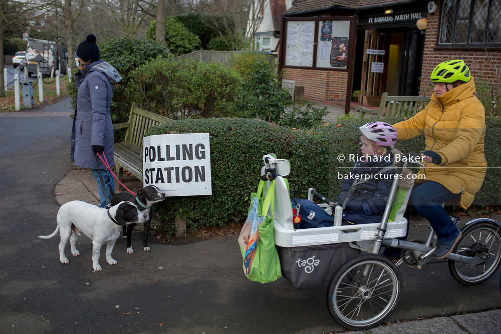 South Londoners arrive to vote at St. Barnabas community hall in Dulwich Village in the south London borough of Southwark, serving as a polling station for the UK's General Election 2 weeks before Christmas, on 12th December 2019, in London, England.