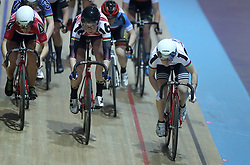 Great Britain's Laura Kenny (right) with Katie Archibald (centre) and Neah Evans (left) during the Women's Omnium Points Race, during day one of the Six Day Series at the HSBC National Cycling Centre, Manchester.