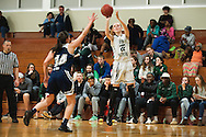 Rice's Lizzy Lyman (22) takes a shot during the girls basketball game between the Burlington Sea Horses and the Rice Green knights at Rice Memorial high school on Thursday night February 18, 2016 in South Burlington. (BRIAN JENKINS/for the FREE PRESS)