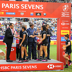 Team of New Zealand receives the gold medals after the Final women match between New zealand and Australia at the HSBC Paris Sevens, stage of the Rugby Sevens World Series at Stade Jean Bouin on June 10, 2018 in Paris, France. (Photo by Sandra Ruhaut/Icon Sport)