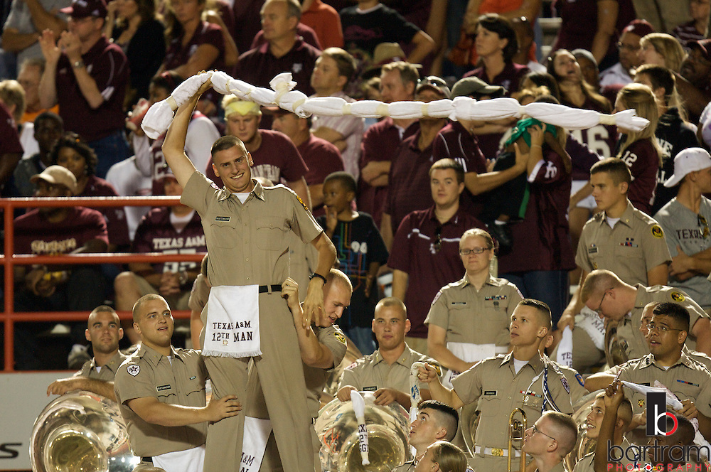 Members of the Texas A&M University Corps of Cadets cheer as the Aggies play Oklahoma State on October 4, 2008 at T. Boone Pickens Stadium in Stillwater, Oklahoma.
