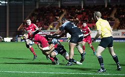 Scarlets' Paul Asquith is tackled by Toulon's Ma'a Nonu<br /> <br /> Photographer Simon King/Replay Images<br /> <br /> European Rugby Champions Cup Round 6 - Scarlets v Toulon - Saturday 20th January 2018 - Parc Y Scarlets - Llanelli<br /> <br /> World Copyright © Replay Images . All rights reserved. info@replayimages.co.uk - http://replayimages.co.uk
