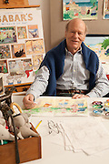 "Laurent de Brunhoff, author and illustrator of the ""Babar"" children's books, in his New York studio."
