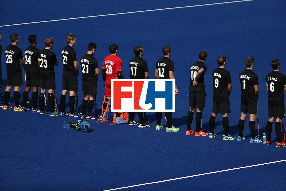 RIO DE JANEIRO, BRAZIL - AUGUST 09:  New Zealand stands attended for the national anthem before the hockey game against Spain on Day 4 of the Rio 2016 Olympic Games at the Olympic Hockey Centre on August 9, 2016 in Rio de Janeiro, Brazil.  (Photo by Christian Petersen/Getty Images)