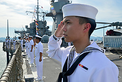 March 27, 2019 - Langkawi, Malaysia - Information Systems Technician Seaman Jason Rosa, from Oak Harbor, Wash., renders a hand salute while manning the rails of U.S. 7th Fleet Flagship USS Blue Ridge (LCC 19) during the Langkawi International Maritime Aerospace Exhibition Fleet Review. Blue Ridge is the oldest operational ship in the Navy, and as 7th Fleet command ship, is responsible for fostering relationships within the Indo-Pacific Region.  (Credit Image: ? U.S. Navy/ZUMA Wire/ZUMAPRESS.com)
