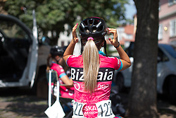 Lorena Llamas (ESP) of Bizkaia-Durango Cycling Team puts on her helmet before Stage 6 of the Lotto Thuringen Ladies Tour - a 80.5 km road race, starting and finishing in Gotha on July 18, 2017, in Thuringen, Germany. (Photo by Balint Hamvas/Velofocus.com)