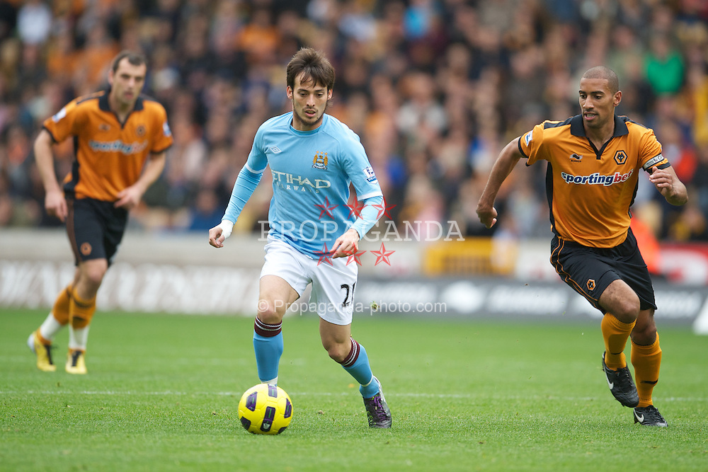 WOLVERHAMPTON, ENGLAND - Saturday, October 30, 2010: Manchester City's David Silva in action against Wolverhampton Wanderers during the Premiership match at Molineux. (Pic by: David Rawcliffe/Propaganda)