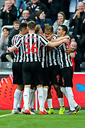 Jose Salomon Rondon (#9) of Newcastle United celebrates Newcastle United's first goal (1-0) with Newcastle United teammates during the Premier League match between Newcastle United and Huddersfield Town at St. James's Park, Newcastle, England on 23 February 2019.