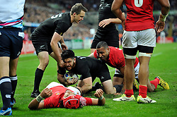 Nehe Milner-Skudder of New Zealand celebrates a try - Mandatory byline: Patrick Khachfe/JMP - 07966 386802 - 09/10/2015 - RUGBY UNION - St James' Park - Newcastle, England - New Zealand v Tonga - Rugby World Cup 2015 Pool C.