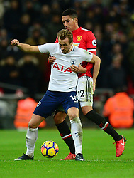 Harry Kane of Tottenham Hotspur Battles for the ball with Chris Smalling of Manchester United - Mandatory by-line: Alex James/JMP - 31/01/2018 - FOOTBALL - Wembley Stadium - London, England - Tottenham Hotspur v Manchester United - Premier League