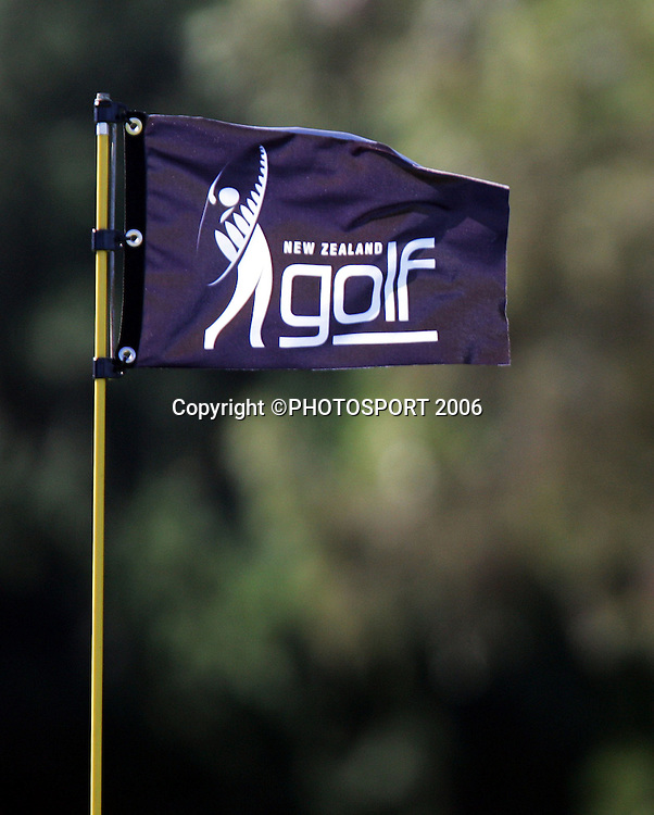 A golf flag during the final round of the New Zealand Mens Amateur Strokeplay Championship at Coringa Golf Course, Christchurch, on Thursday 6 April 2006. Photo: Tim Hales/PHOTOSPORT