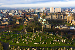 View of Glasgow Cathedral and city of Glasgow from necropolis cemetery in Glasgow, Scotland, UK