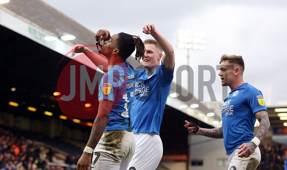 Ivan Toney of Peterborough United celebrates his goal by paying tribute to Groundsman Will Whitney who passed away aged 21 - Mandatory by-line: Joe Dent/JMP - 07/03/2020 - FOOTBALL - Weston Homes Stadium - Peterborough, England - Peterborough United v Portsmouth - Sky Bet League One