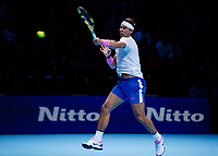 Tennis - 2019 Nitto ATP Finals at The O2 - Day Six<br /> <br /> Singles Group Andre Agassi: Rafael Nadal (Spain) Vs. Stefanos Tsitsipas (Greece)<br /> <br /> Rafael Nadal (Spain) drives the forehand <br /> <br /> COLORSPORT/DANIEL BEARHAM<br /> <br /> COLORSPORT/DANIEL BEARHAM