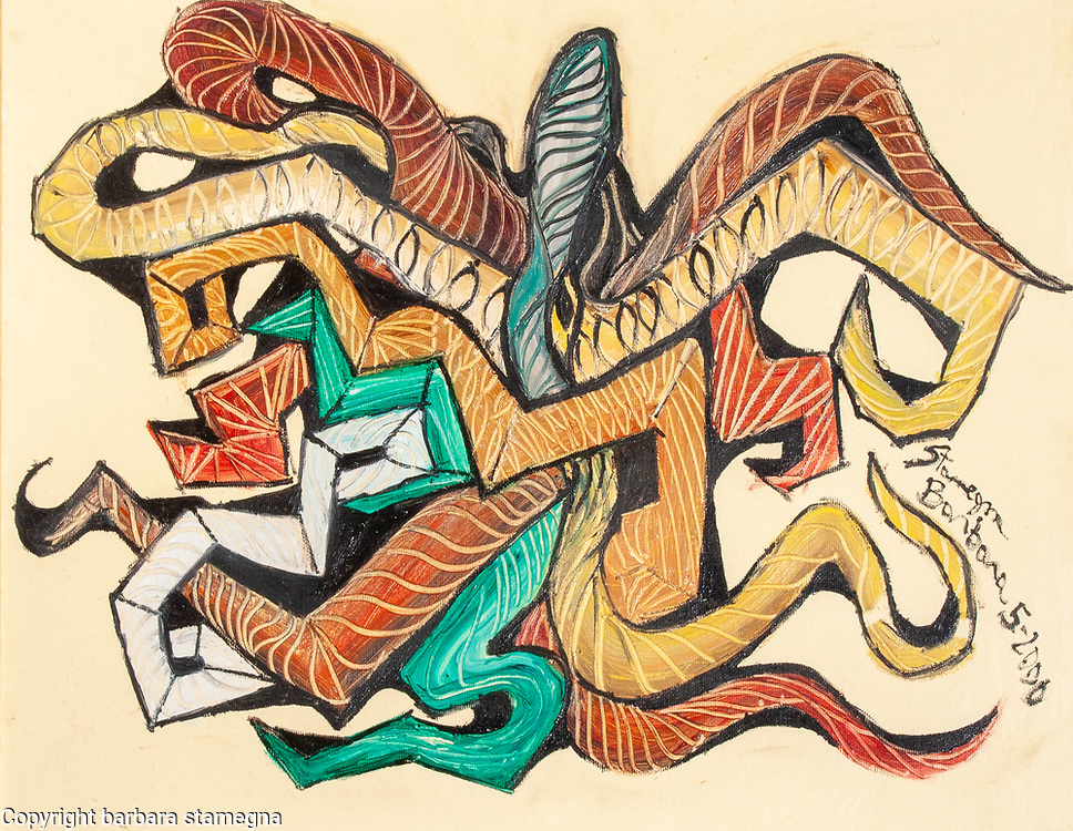 Abstract image evoking an octopus with bended lines and curved shapes multicolored tentacles like image in red, orange, green, yellow, brown, blue, gray, white oil colors, on creamy white enamel background.