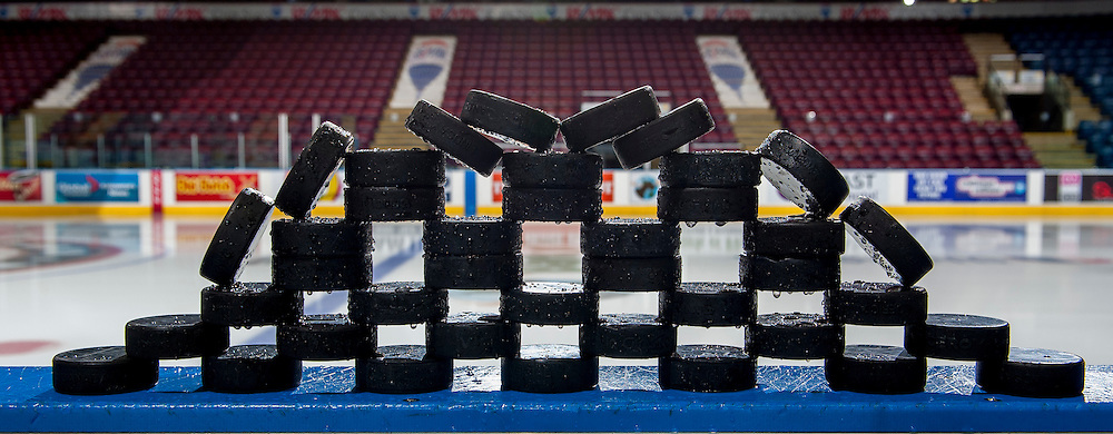 KELOWNA, CANADA - DECEMBER 3: Wet pucks sit on the boards on December 3, 2016 at Prospera Place in Kelowna, British Columbia, Canada.  (Photo by Marissa Baecker/Shoot the Breeze)  *** Local Caption ***