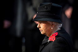 Queen Elizabeth II during the annual Remembrance Sunday Service at the Cenotaph memorial in Whitehall, central London, held in tribute for members of the armed forces who have died in major conflicts.