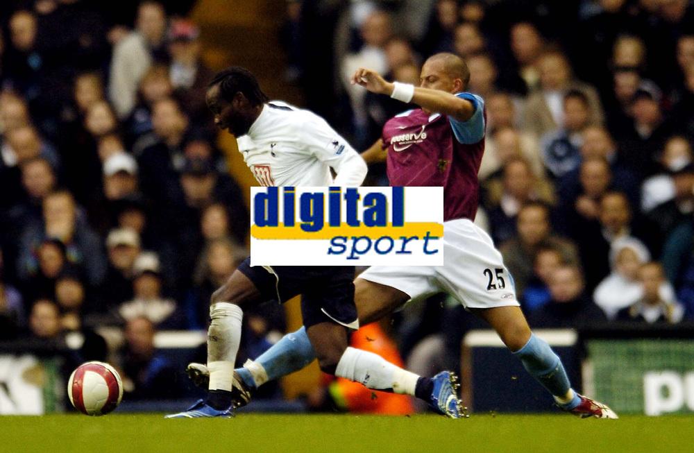 Photo: Olly Greenwood.<br />Tottenham Hotspur v West Ham United. The Barclays Premiership. 22/10/2006. Tottenham's Pascal Chimbonda and  West Ham's Bobby Zamora