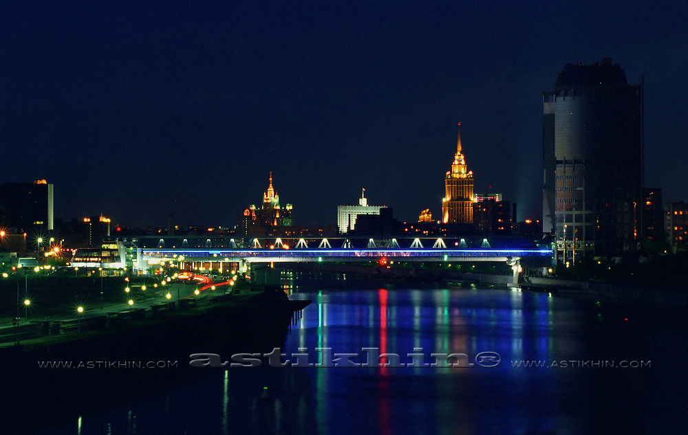 Reflection in Moscow River at night