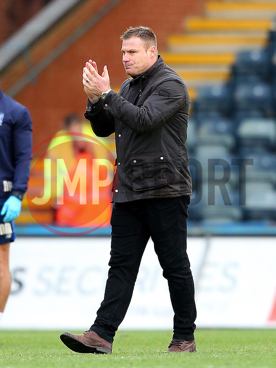 Bury Manager David Flitcroft celebrates victory at full time - Mandatory byline: Matt McNulty/JMP - 06/12/2015 - Football - Spotland Stadium - Rochdale, England - Rochdale v Bury - FA Cup