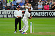 Jeetan Patel of Warwickshire bowling his only ball of the 1st innings to dismiss Jack Leach of Somerset during the Specsavers County Champ Div 1 match between Somerset County Cricket Club and Warwickshire County Cricket Club at the Cooper Associates County Ground, Taunton, United Kingdom on 6 September 2016. Photo by Graham Hunt.