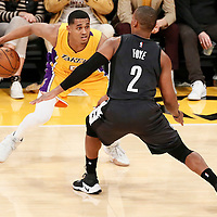 15 November 2016: Brooklyn Nets guard Randy Foye (2) defends on Los Angeles Lakers guard Jordan Clarkson (6) during the LA Lakers 125-118 victory over the Brooklyn Nets, at the Staples Center, Los Angeles, California, USA.