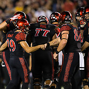 15 September 2018: San Diego State Aztecs place kicker John Baron II (29) celebrates after hitting a 54 yard field goal in the third quarter giving the Aztecs a 17-14 lead. The Aztecs beat the Sun Devils 28-21 at SDCCU Stadium in San Diego, California.