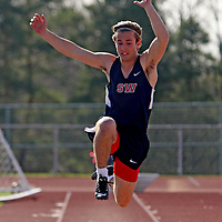 Southwestern's Nathan Mogenham during the long jump competition against Fredonia 4-20-16 photo by Mark L Anderson