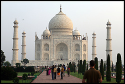 General View of the Taj Mahal in Agra in India, the Taj is It is one of the most recognizable structures in the world. It was built by Mughal emperor Shah Jahan in memory of his third wife. Taj Mahal is the finest example of Mughal architecture, a style that combines elements from Persian, Islamic and Indian architectural style, October 1, 2008. Photo By Andrew Parsons / i-Images.