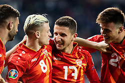 Egzijan Alioski of Macedonia, Enis Bardi of Macedonia and Eljif Elmas of Macedonia celebrate after scoring first goal during football match between National teams of Slovenia and North Macedonia in Group G of UEFA Euro 2020 qualifications, on March 24, 2019 in SRC Stozice, Ljubljana, Slovenia. Photo by Vid Ponikvar / Sportida