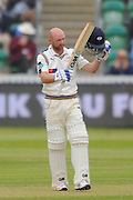 100 for Adam Lyth - Yorkshire's Adam Lyth raises his bat to celebrate scoring his century during the Specsavers County Champ Div 1 match between Somerset County Cricket Club and Yorkshire County Cricket Club at the County Ground, Taunton, United Kingdom on 17 May 2016. Photo by Graham Hunt.