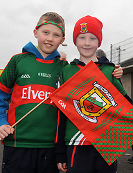 James Heffernan and Joshua Reilly from Belmullet at McHale park for the Mayo v Kerry national football league encounter. Pic Conor McKeown